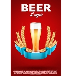 Brewery Label with light beer glass and malt vector