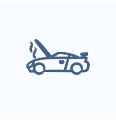 Broken car with open hood sketch icon vector image