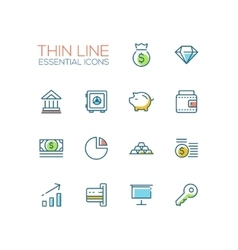 Business Finance Symbols - thick line design vector