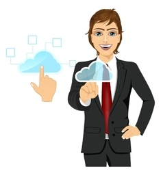 businessman touching the cloud icon vector image