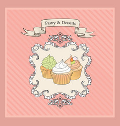 Cakes background retro bakery label sweets vector