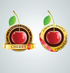 Cherry gold label seal top best quality vector