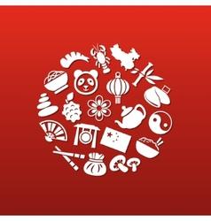 China icons in circle vector