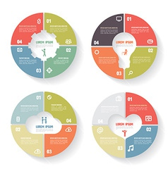 Circle infographic set Gear bulb Cloud Heart Templ vector