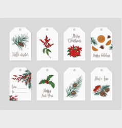 Collection of christmas label or tag templates vector