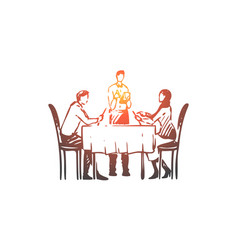 couple restaurant table waiter concept vector image