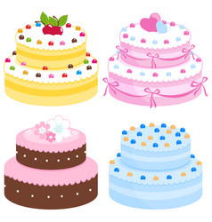 cream cakes collection vector image