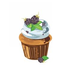 Cupcake with blackberry dessert vector
