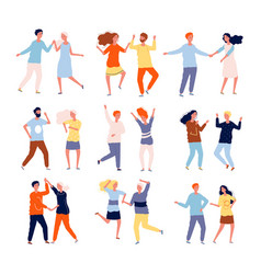 dancing couples funny people male and female vector image