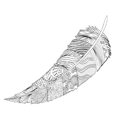 Decorative feather Zentangle vector image