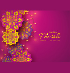 diwali festival holiday design with rangoli vector image