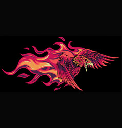 eagle with flames design vector image
