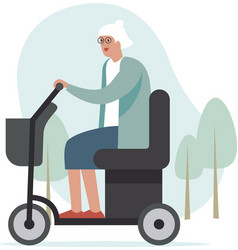 Elderly woman driving mobility scooter park area vector