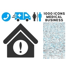 Exclamation Building Icon with 1000 Medical vector