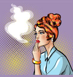 Fashionable pin-up smoking girl with smoking vector