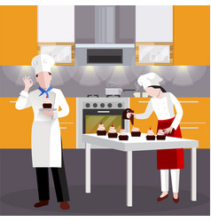 Flat cooking people in restaurant composition vector