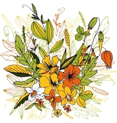 Flowers with leaves and plants vector