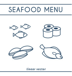 fresh seafood icons set vector image