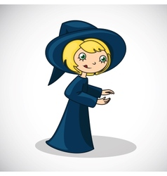 girl in witch costume vector image