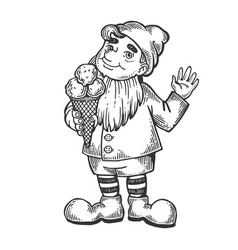 gnome with ice cream engraving vector image