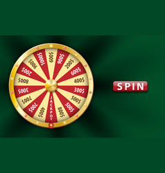gold realistic 3d fortune wheel lucky game spin vector image