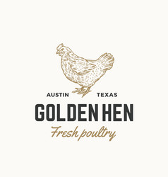 Golden hen fresh poultry abstract sign vector