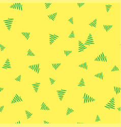 green christmas tree on a yellow background vector image