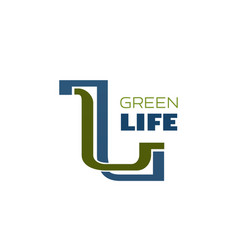 green life icon for nature ecology and environment vector image