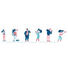 group people in queue social distancing vector image