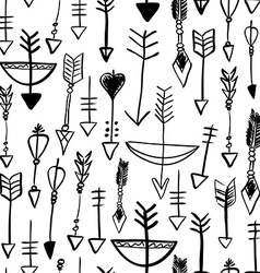 Hand drawn arrows and bows seamless pattern vector image