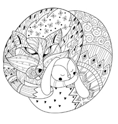 Hand drawn doodle outline fox sleeping decorated vector image