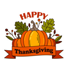 hand drawn poster with thanksgiving greeting text vector image