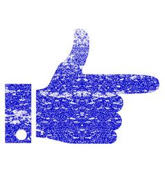 Hand pointer right grunge textured icon vector