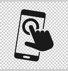 hand touch smartphone icon in transparent style vector image