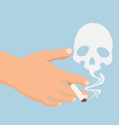 Hand with cigarette smoke skull vector