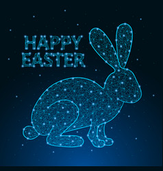 happy easter made polygonal wireframe mesh vector image