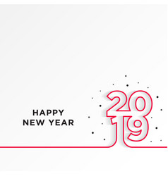 Happy new year 2019 card theme line red on white vector
