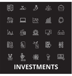 Investment editable line icons set on black vector