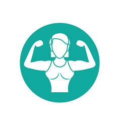 Isolated gym female body icon block line design vector