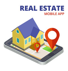isometric real estate mobile app with phone and 3d vector image