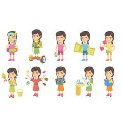 little caucasian girl set vector image