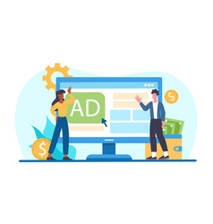 Male and female characters paid for advertising vector