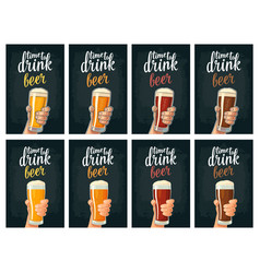 Male hand holding a glass with four types beer vector