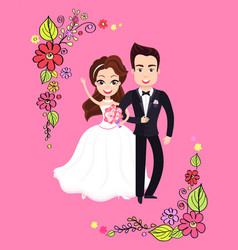 man and woman wedding postcard valentine vector image