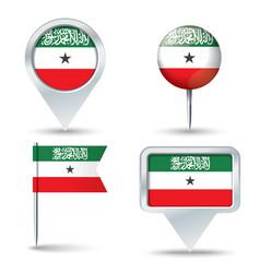 Map pins with flag of Somaliland vector image