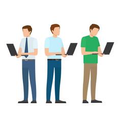 Men set standing full length working on laptop vector