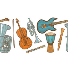 Musical instrument pattern in hand drawn style vector