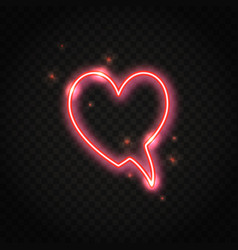 Neon red heart speech bubble with space for text vector