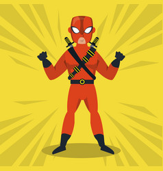 ninja superhero cartoon vector image
