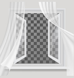 Open window and waving transparent curtain vector